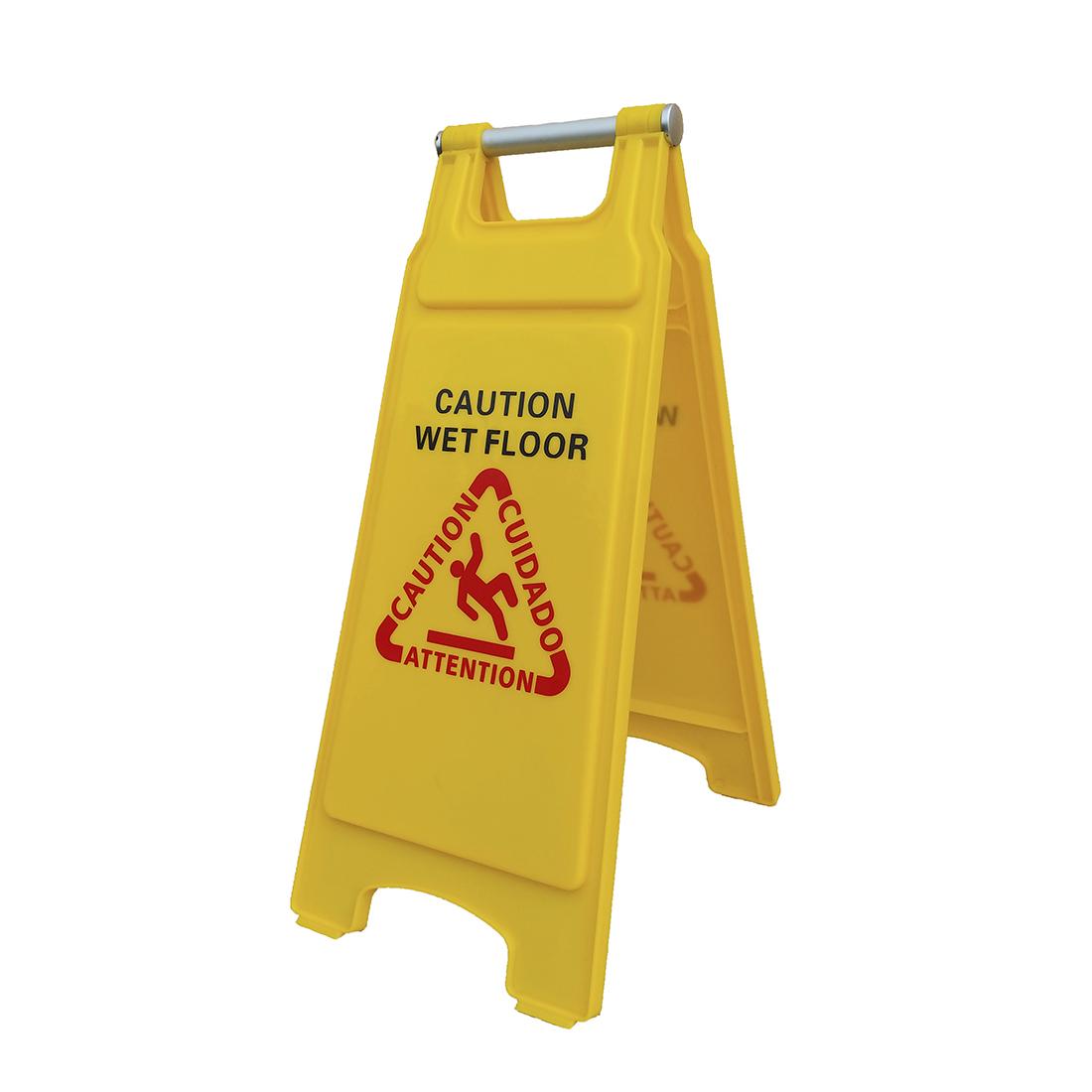Cartello LUX Avviso di Pericolo pavimento bagnato con manico in alluminio (Wet Floor)