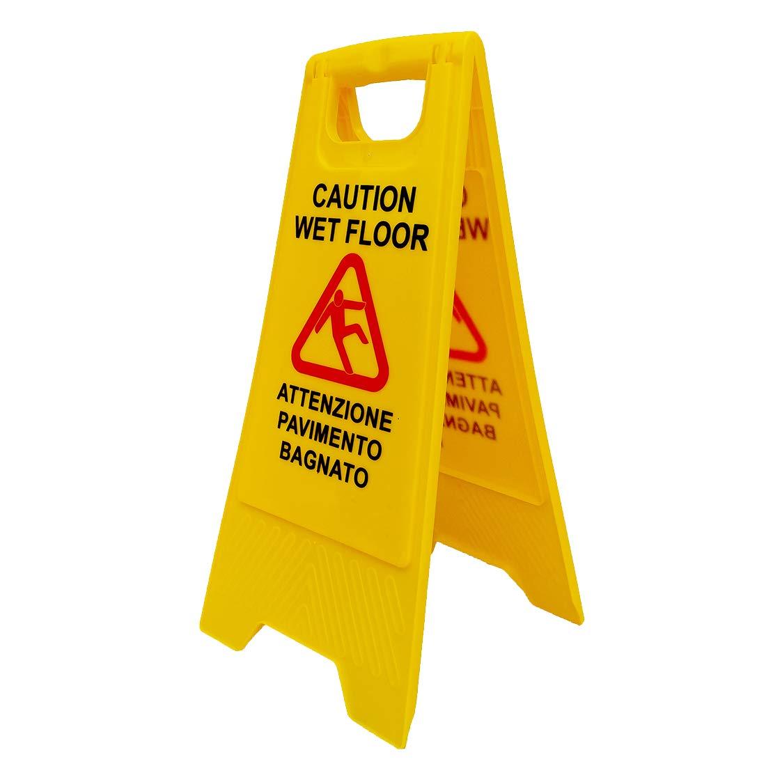Cartello avviso di pericolo pavimento bagnato (WET FLOOR)