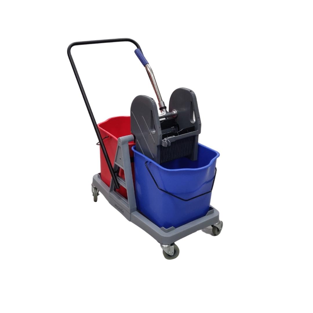 Carrello per pulizie doppia vasca, due secchi con strizzatore 50Lt