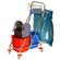Carrello per le pulizie cromato, con 2 secchi da 17 Lt cad., supporto sacchi immondizia da 70 litri, cestino da appendere